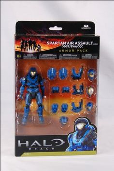 Halo Reach McFarlane Toys Deluxe Action Figure Boxed Set BLUE Spartan Air Assault Custom Armor Pack ODST, EVA, CQC $21.85