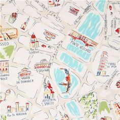 white Italy map fabric by Dear Stella USA