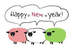 年賀状イラスト素材・テンプレート「年賀素材館プラス+」印刷素材-年賀状テンプレート「2015未」3匹の羊ダウンロード