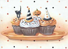 Halloween Cupcakes matted ready to frame print by Everyday is a Holiday