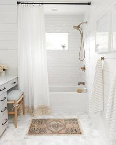 Hey hey it's Master Bath reveal day! We started with a barely space, one sink and a disgusting yellowing fiberglass jacuzzi tub, and… Hexagon Tile Bathroom, Bathtub Tile, Bathroom Flooring, Jacuzzi Tub, Carrara Marble Bathroom, Bathroom Renos, Small Bathroom, Bathroom Ideas, Relaxing Bathroom