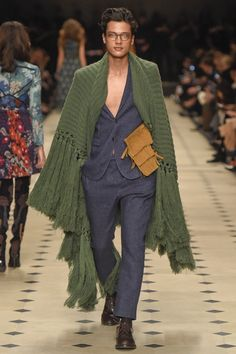 Burberry Prorsum; London Fashion Week Fall 2015 RTW. Men need to get on the fringe trend too.