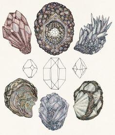 Art nouveau crystal mineral tattoo | Qué hay más molón que una camiseta de minerales y formas ...