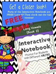 LONG VOWEL INTERACTIVE JOURNAL FOR STUDENTS WITH DIFFERENT ABILITIES!*This is an excerpt from a much larger product. I wanted to give you the opportunity to see first-hand what the materials are like. The description is for the  Long Vowel Interactive Not