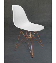 Eames Style White DSR Eiffel Chair - Copper finish legs
