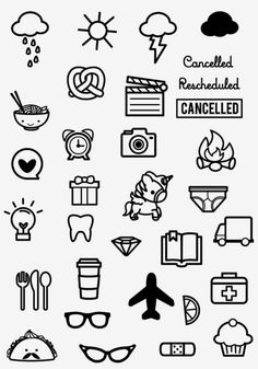Just Icons - Sweet Stamp Shop planner Doodle Drawings, Easy Drawings, Doodle Art, Cute Drawings Tumblr, Cute Little Drawings, Kalender Design, Sweet Stamp Shop, Typographie Logo, Doodle Icon