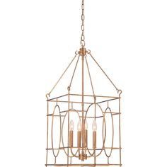 Warm Gold Fifteen Inch Four Light Pendant Lantern Pendant Lighting Ceiling Lighting