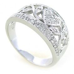 Stříbrný prsten se srdíčkem ze zirkonů - řekne vše beze slov!