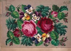Bunch of roses and violets embroidery design, 19th century