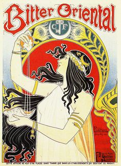 "Art Nouveau advertisement by Henri Privat-Livemont ""Bitter Oriental"""