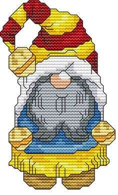 Holiday Gnome 1 Cross Stitch Pattern Fun Modern Design for
