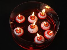 Halloween Decor, floating eyeball candle, creepy decor, day of the dead decoration, spooky wax eye, scary decorative party supplies for Halloween parties!  -----  About:   ...
