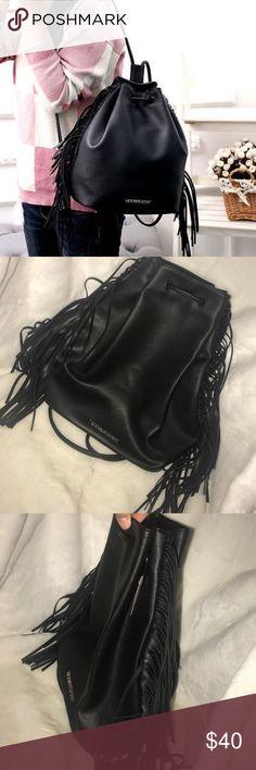 """VS fringe drawstring backpack Brand new black fringe drawstring backpack. 10""""x14"""" big. Victoria's Secret Bags Backpacks"""