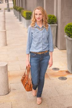 The best way to do a denim on denim look is to choose two shades. Find out how to pull a denim outfit together by clicking through.