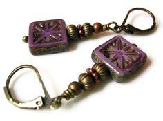 Purple Square Picasso Finish Czech Glass Earrings, via Etsy.