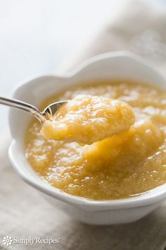 Delicious homemade applesauce recipe.  There is nothing better than homemade applesauce with hand-picked apples, and it is so easy to do!  ~ SimplyRecipes.com