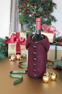 Buttoned-up Bottle Cozy - wine cozy knitting pattern