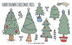 Collection of Christmas trees doodles. Each tree is different: some have…
