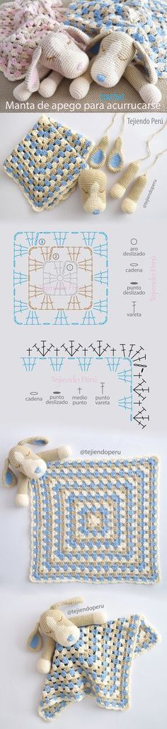Colcha con perritos o manta de apego para acurrucarse tejida a #crochet: paso a…