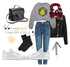"""""""The """"I finally found my jean mom"""" outfit"""" by estellenath on Polyvore featuring mode, Lost Ink, Burberry, NIKE et The Cambridge Satchel Company"""