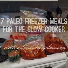 7 Paleo type meals for the slow cooker....for the HI chicken, cut up chicken, add choped onion, bell pepper and Sweet & sour sauce not BBQ sauce