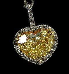 Heart yellow canary & white diamonds pendant