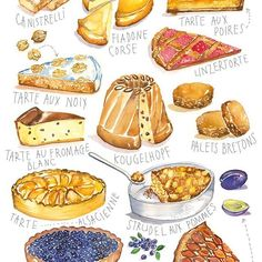 French bakery #watercolor #watercolorfood #watercolorcake #food #foodart #frenchbakery #frenchfood #illustration #foodsketch #foodillustration #frenchcake #cake