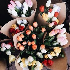 Find images and videos about flowers, bouquet and tulips on We Heart It - the app to get lost in what you love. My Flower, Beautiful Flowers, Fresh Flowers, Yellow Tulips, Bunch Of Flowers, Tulips Flowers, Fall Flowers, Orange Yellow, Floral Flowers