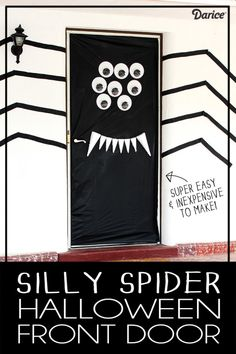 Spider Halloween Door Decoration - A super easy way to decorate your front door!