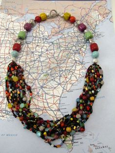 Beaded Multi Strand to Single Strand Colorful by VickiODell, $75.00