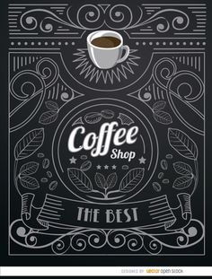 Very cool logo for a coffee shop in doodle style with a cup of coffee on top and a lot of ornaments around like leaves, swirls, ribbons, stars, etc. I Love Coffee, Coffee Art, Coffee Cups, Chalkboard Lettering, Chalkboard Designs, Opening A Coffee Shop, Coffee Shop Logo, Sandwich Board, Picture Logo