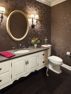 Eclectic Bathroom With Artistic Floral Print Wallpaper Antique White Bathroom Vanity Gold Framed Mirror Colorful Flower bathroom - lines Powder Room Wallpaper, Brown Wallpaper, Bathroom Wallpaper, Of Wallpaper, Wallpaper Ideas, Textured Wallpaper, Wallpaper Toilet, Unusual Wallpaper, Rustic Wallpaper