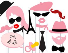 Pink Parisian Chic Photo booth Props,