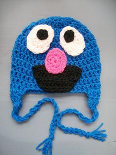 Grover Monster Earflap Hat from Sesame Street, Blue Crochet Beanie, SIZES NEWBORN-ADULT. $25.00, via Etsy.