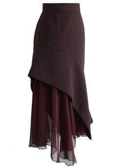 Indulge in a Flouncing Wine Midi Skirt - Retro, Indie and Unique Fashion