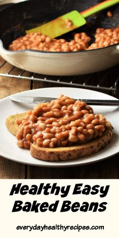 These low-sugar healthy baked beans use a handful of pantry ingredients and are ready in under 10 minutes! Homemade baked beans taste just like store bought but contain less sugar and are cheaper. There is every reason why you should make your own. Healthy Baked Beans, Vegetarian Baked Beans, Easy Baked Beans, Homemade Baked Beans, Baked Bean Recipes, Vegan Recipes Easy, Cooking Recipes, Low Calorie Baking, Beans In Crockpot