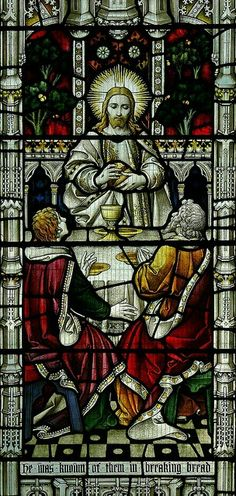 Stained glass of the The Breaking of The Bread - Institution of The Eucharist. (The Last Supper)