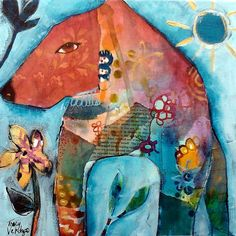 """Bear Love"". Tracy Verdugo. 2012 12x12"" mixed media on board. http://artoftracyverdugo.blogspot.comHeartful Musings"