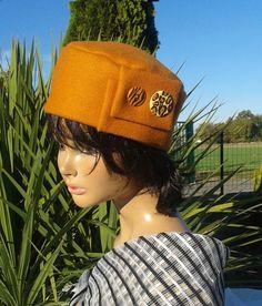 Bonnet chapeau d'hiver femme en tissu jaune moutarde Chic : Chapeau, bonnet par lemur-rose