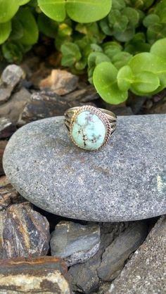 Dry Creek White Turquoise Ring with Wide 4 Prong Shank | SUNFACE TRADERS