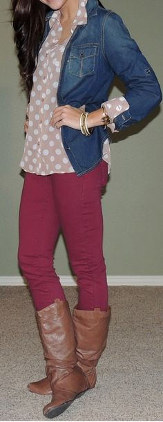 Polka Dot Top: Monica's Closet Essentials Chambray Top: Target Jeans: TJ Maxx Boots: Shoe Carnival