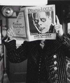 ronaldcmerchant:  Lon Chaney reads about himself.
