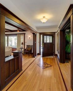 in love with this entry - add some columns or pony walls to the right of the front door to create a hallway entry feel
