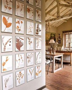 botanical prints line a hallway in a neutral home, interior design, decor, traditional, inspiration Rural House, Rural Retreats, Stone Houses, Eclectic Style, Botanical Prints, Botanical Flowers, Country Decor, Wall Prints, Leaf Prints