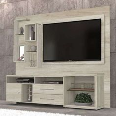 Buy Rotterdam Home Theater and pay up to without interest. At Mobly your purchase is fast . Tv Unit Decor, Tv Wall Decor, Tv Cabinet Design, Tv Wall Design, Tv Unit Furniture, Home Furniture, Deco Tv, Tv Wanddekor, Modern Tv Wall Units