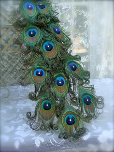 Exquisite Curled Feather Peacock Cake Topper Christmas by Ivyndell