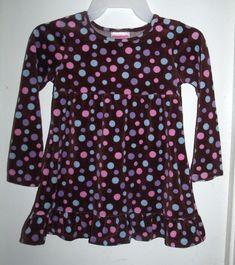 Flapdoodles Brown Velour Pink Purple Blue Polka Dots L/S Dress Size 6 #Flapdoodles
