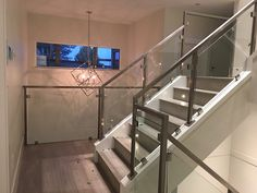 Interior Railings Vancouver - Aluminum Guardrail & Handrails (Commercial / Residential) - Metro Vancouver Railings Glass Stair Balustrade, Interior Railings, Glass Stairs, Modern Glass, Vancouver, Commercial, Home Decor, Staircases, Staircase Ideas