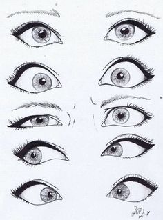 Looking at drawings of eyes, i like the cartoon style in which these are done, i…