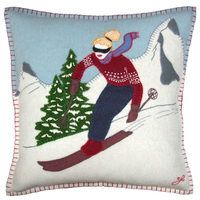 Skier girl cushion, Christmas collection, mountains, snow, wool